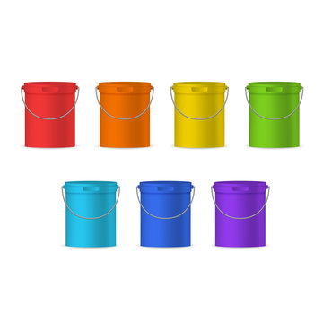 Realistic Detailed 3d Color Plastic Buckets Set. Vector