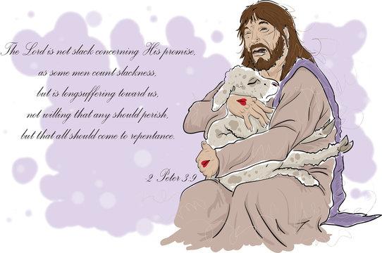 Jesus Crying while holding Lamb