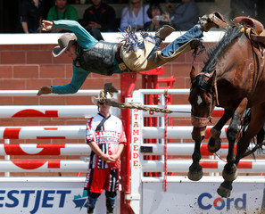 Zane Jones of Dawson Creek, British Columbia gets tossed off the horse Barnyard Coconut in the junior saddle bronc event during the Calgary Stampede rodeo in Calgary
