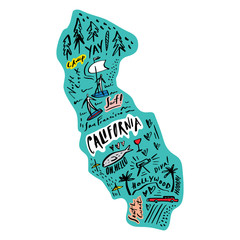 Cartoon map of California vector illustration. Printable art for textile, souvenirs, picture for website, presentation and more. Explore World concept.