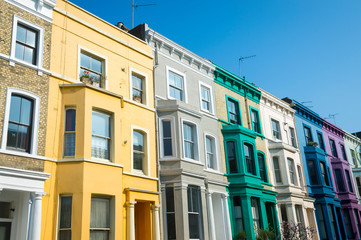 Traditional colorful row houses in the Notting Hill neighborhood of London, England, UK