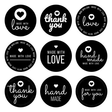 Set labels and bages for sellers including ''thank you'', ''handmade'', ''made with love'' and ''for you'' labels. Vector illustration