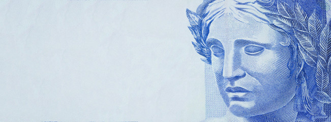 Two bill money. Republic's Effigy bust on Brazilian money. Space for text.