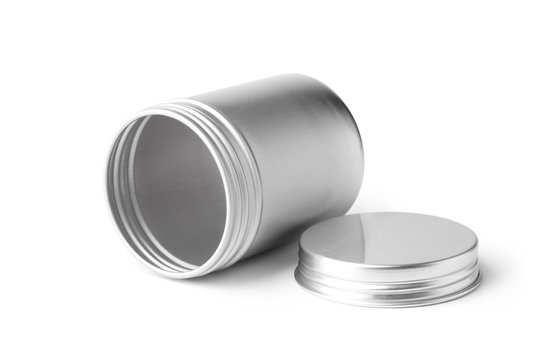 Empty metal can container isolated on white background. Container for tea, cosmetic or food.