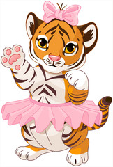 Fotobehang Sprookjeswereld Illustration of cute playful tiger cub ballerina