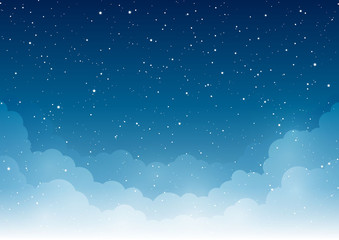 Night starry sky with clouds for Your design Fotobehang