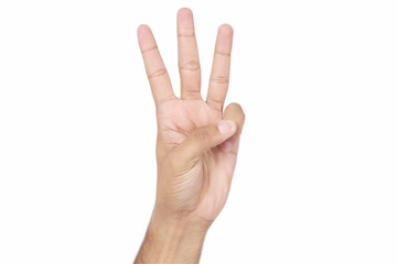 Picture of middle three fingers of human hand. Isolated on white background