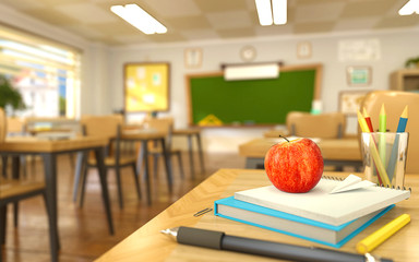 Cartoon style school elements - book, pen, pencils and red apple on desk in empty classroom. 3D rendering illustration. Back to school design template.