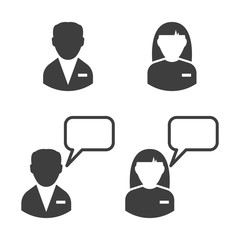 Staff icon. Man and woman. Chat with a man and a woman. Vector on a poor background