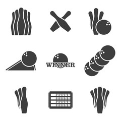 Bowling icons set. Vector on white background