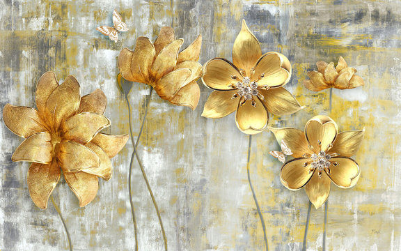 3d illustration, gray grunge background, large golden flowers on thin stems