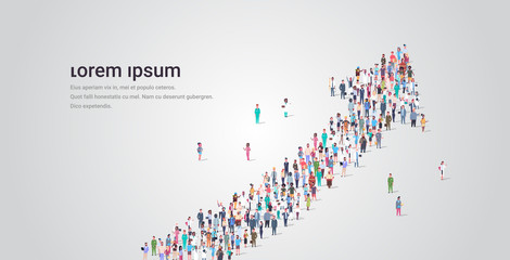 people crowd gathering in shape of financial arrow up symbol social media community successful growth concept different occupation employees group standing together full length horizontal copy space Fototapete