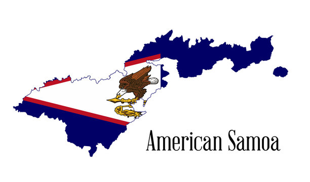 American Samoa Outline Map With Flag