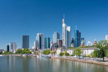 Frankfurt am Main, Germany. Vew of the skyscrapers in city centre. Sunny summer day Wall mural