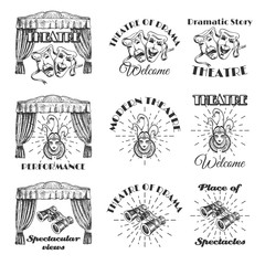 Vintage theatre label, emblem, badge and logo set, vector illustration