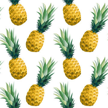 Seamless summer pattern with pineapples. Vector illustration, botanical background.