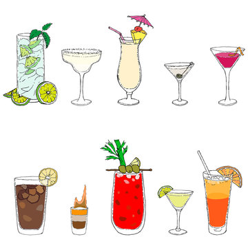10 most famous cocktails of the world: mojito, bloody mary, daiquiri, cosmopolitan, long island, margarita, martini dry, pina colada, sex on the beach, flaming b-52 Vector illustration