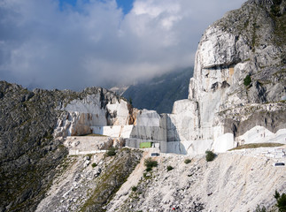 Stunning view of white marble quarry, high up in the Apuan Alps, Alpi Apuane, Italy. Nobody there,...