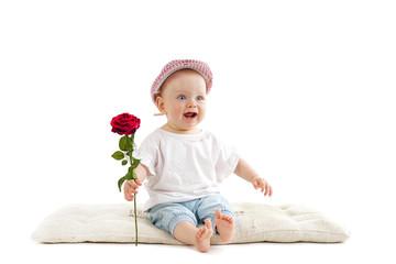 kleines Mädchen mit roter Rose