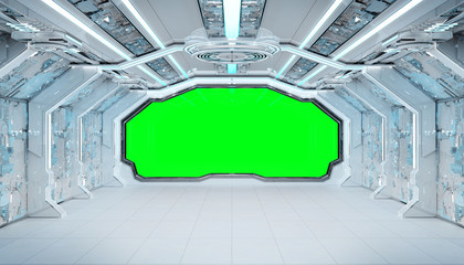 Wall Mural - White blue spaceship futuristic interior mockup with window view 3d rendering
