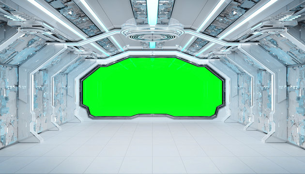 White blue spaceship futuristic interior mockup with window view 3d rendering