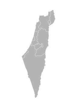 Vector isolated illustration of simplified administrative map of Israel. Borders of the districts (regions). Grey silhouettes. White outline. Note: map shown with disputed territories
