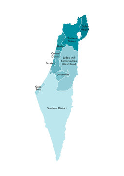 Vector isolated illustration of simplified administrative map of Israel. Borders and names of the districts (regions). Colorful blue khaki silhouettes. Note: map shown with disputed territories