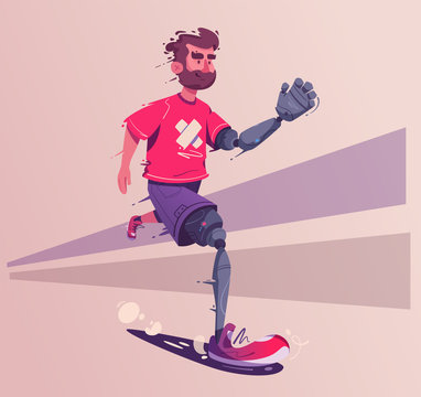 Man with a prosthesis is running. Sport concept. Cartoon vector illustration.