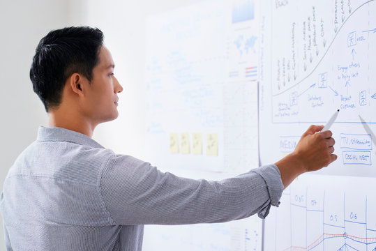 Young Vietnamese marketing department manager examining chart hanging on wall in front of him