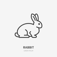 Sitting rabbit flat line icon. Vector thin sign of cute bunny, animal logo. Pet shop outline illustration, cruelty free label