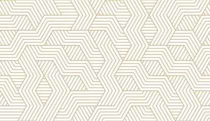 Abstract simple geometric vector seamless pattern with gold line texture on white background. Light modern simple wallpaper, bright tile backdrop, monochrome graphic element