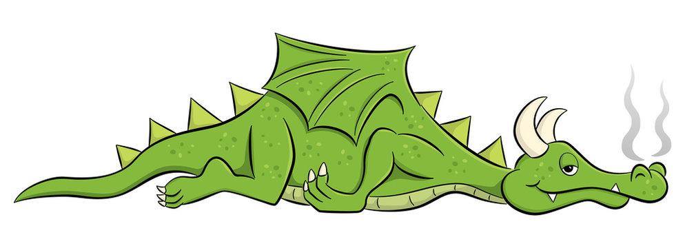 sleeping cartoon dragon