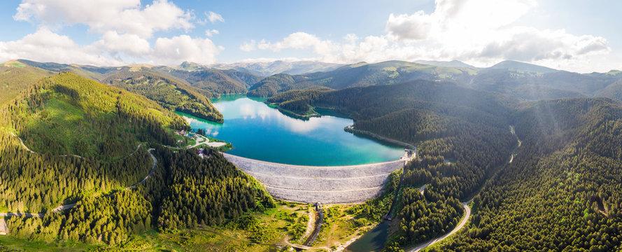 Aerial drone shot of Bolboci Lake in Bucegi mountains