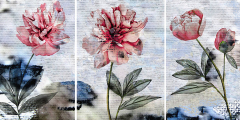 Collection of designer oil paintings. Decoration for the interior. Modern abstract art on canvas. Set of pictures with different textures and colors. Peonies on a gray-blue background.