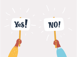 Yes No on banners in human hands.
