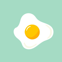 Hand drawn doodle vector illustration of sunny side up fried egg with bright yellow yoke on light turquoise background. Culinary food poster card menu template. Icon