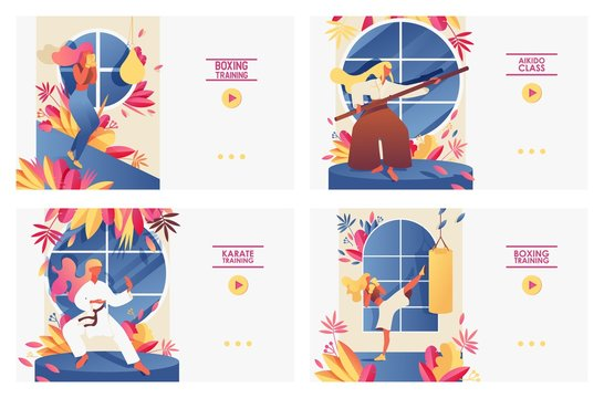 Set with large landing page templates with girls doing martial arts training. Aikido, boxing, kickboxing, karate exercises in front of windows, decorated with greenery, drawn with bright gradients