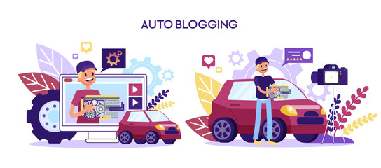 Video blog about the car repair. Man standing
