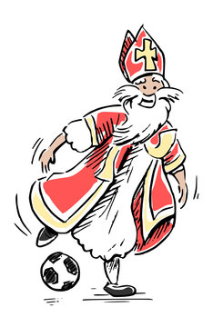 Sinterklaas - color drawing - playing soccer