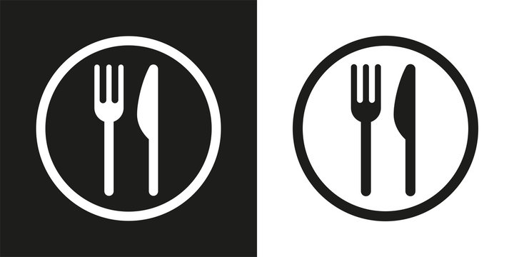 sign with fork and knife