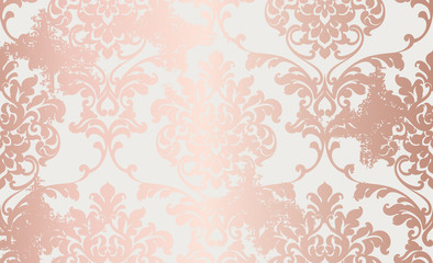Damask pink gold ornament pattern Vector. Baroque luxury texture. Glossy structure. Victorian elegant decors
