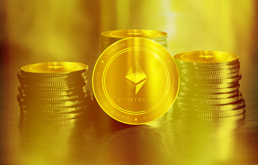 Ethereum (ETH) digital crypto currency. Stack of golden coins. Cyber money.