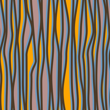 Abstract seamless pattern with vertical curved lines. Background with uneven parallel stripes. Ornament in violet and yellow colors.