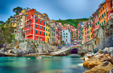 Famous city of Riomaggiore in Italy Wall mural