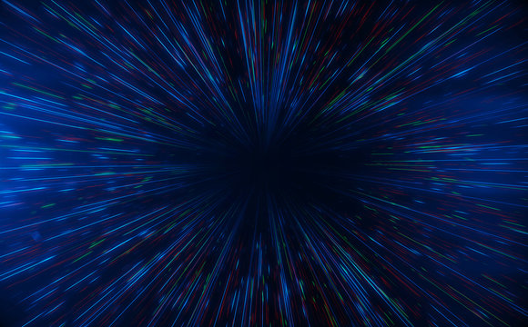 Shiny Particles Space Explosion Retro Sci-Fi Neon radial lines Background Futuristic speed light zoom of the 80`s. Digital Cyber Surface. Suitable for design in the style of the 1980`s