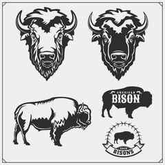 Set of vector Bison silhouettes and illustration. Print design for t-shirt. Emblem design template.