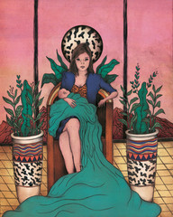 Illustration of woman sittingwith baby on chair