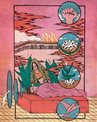 Illustration of woman healing man