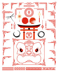 Big set with traditional asian frame for cards and picture frame. Grunge ink circle set in Japanese style and design elements. Chinese lion and japanese Torii gate.