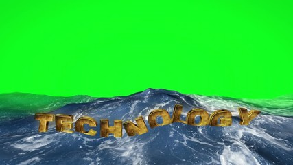 Wall Mural - Technology text floating in the water against green screen